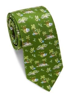 Ferragamo Palm Print Silk Tie