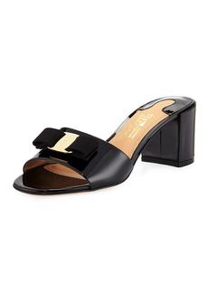 Salvatore Ferragamo Eolie Patent Block-Heel Slide Sandal