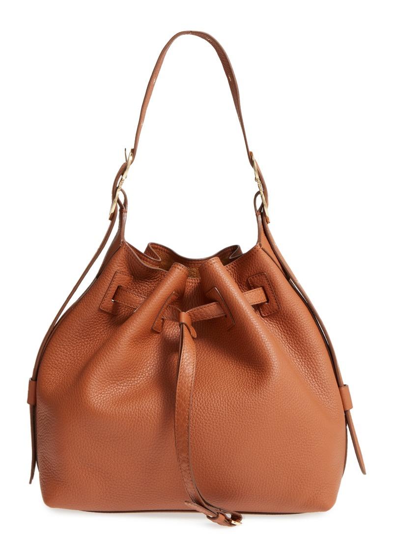 0b365377070e Ferragamo Salvatore Ferragamo Pebbled Leather Drawstring Bucket Bag ...