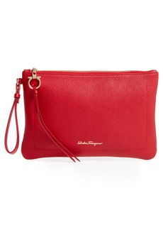 Salvatore Ferragamo Pebbled Leather Wristlet Clutch