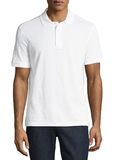 Ferragamo Men's Pique Polo Shirt with Floating Gancio Embroidery