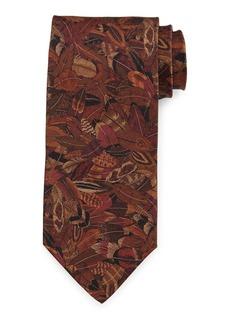 Ferragamo Plume-Print Silk Tie