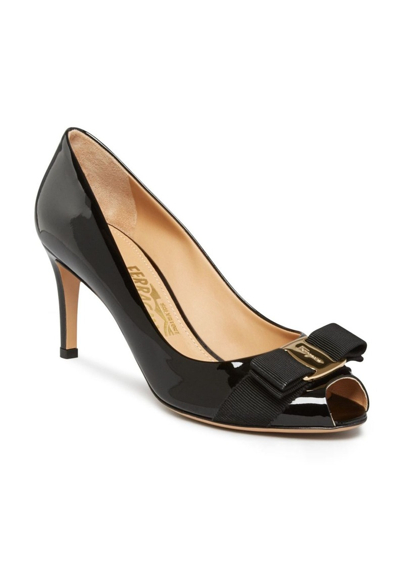 Salvatore Ferragamo Peep-Toe Leather Pumps