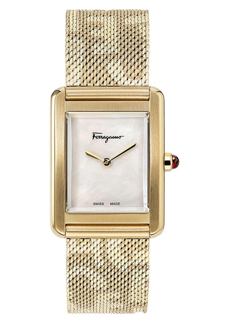Salvatore Ferragamo Portrait Mesh Strap Watch, 24mm x 32mm