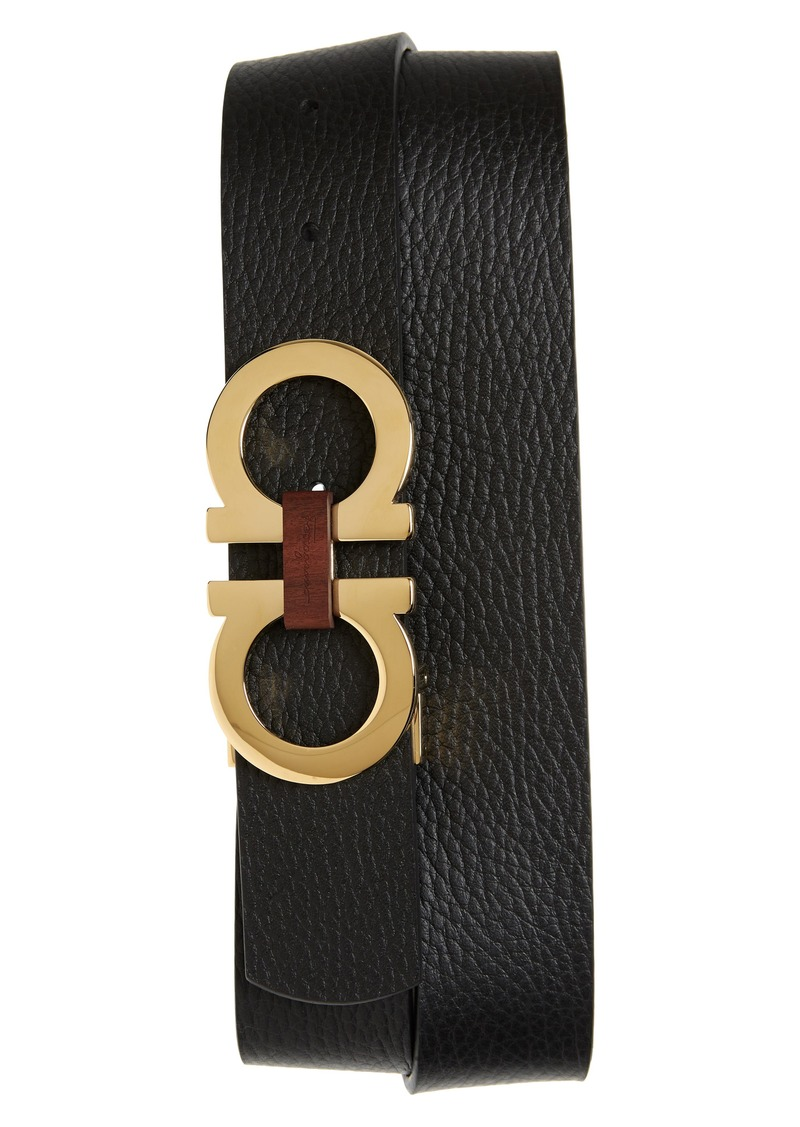 Salvatore Ferragamo Reversible Gancini Buckle Leather Belt