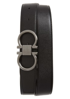 Salvatore Ferragamo Reversible Pebbled Calfskin Belt