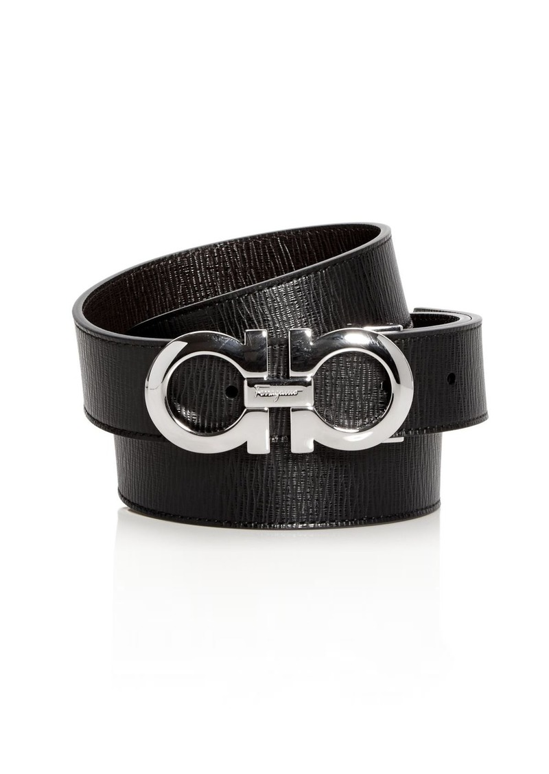 Salvatore Ferragamo Men's Revival Textured Reversible Belt with Shiny Rhodium-Tone Double Gancini Buckle