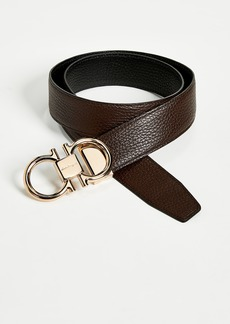 Salvatore Ferragamo Rose Gold Double Gancio Reversible Belt