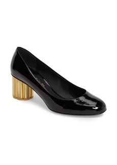 Salvatore Ferragamo Rounded Toe Flower Heel Pump (Women)