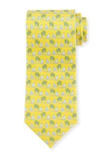 Ferragamo Sailboat & Palm Tree-Print Tie