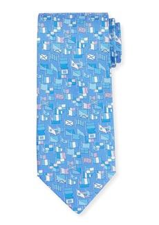 Ferragamo Sailboat-Print Silk Tie