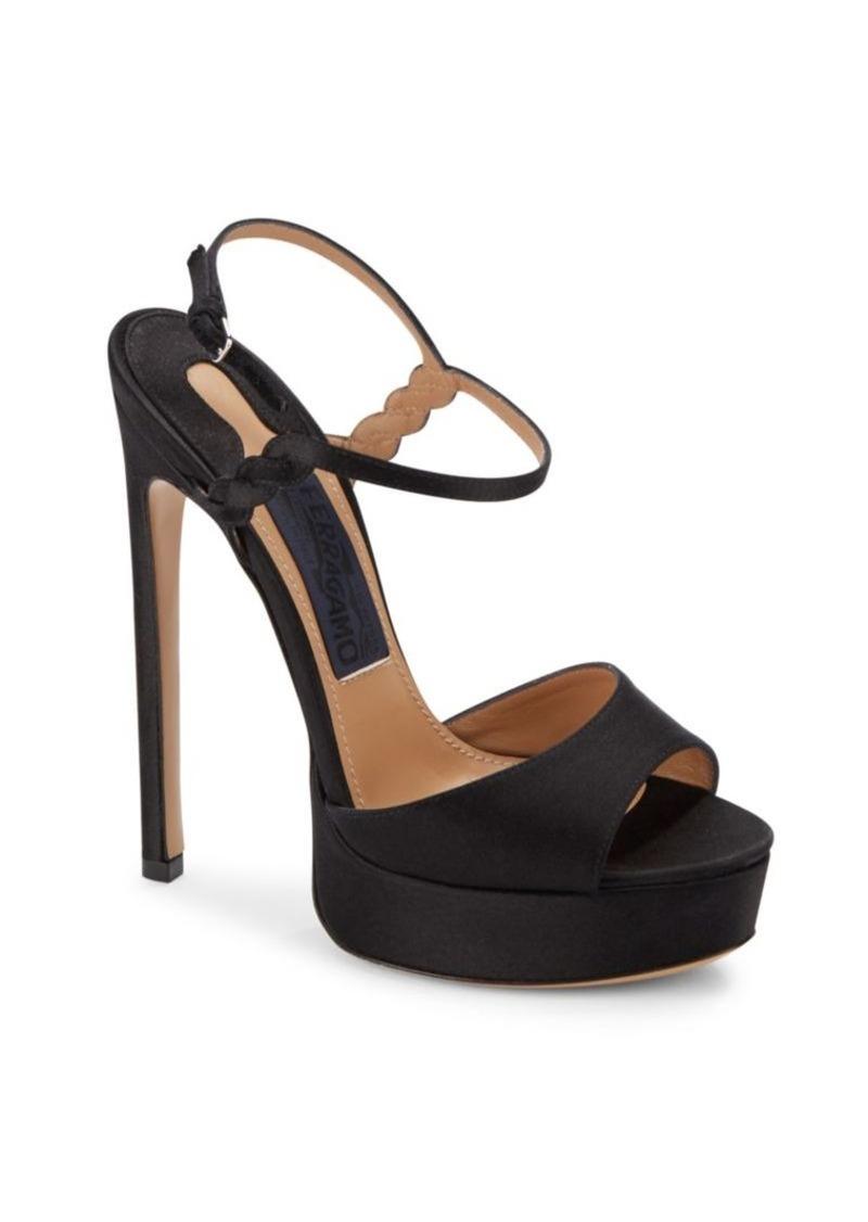 49ac3e5a942 Ferragamo Salvatore Ferragamo Pollon Satin Platform Sandals