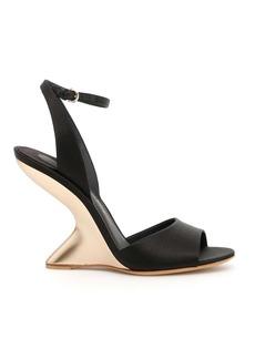 Salvatore Ferragamo Satin Sandals With F Heel