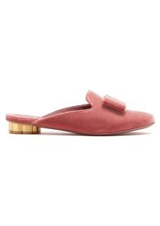 Salvatore Ferragamo Sciacca bow-embellished backless velvet loafers