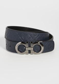 Salvatore Ferragamo Silver Double Gancio Adjustable Belt