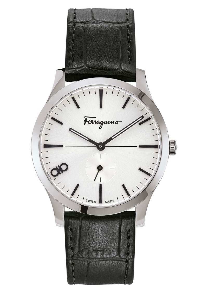 Salvatore Ferragamo Slim Leather Strap Watch, 40mm
