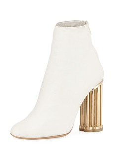 Ferragamo Smooth Leather Bootie with Sculpted Heel