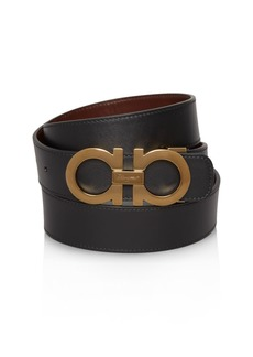Salvatore Ferragamo Smooth Reversible Belt with Shiny Goldtone Double Gancini Buckle