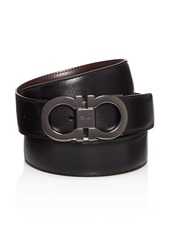 Salvatore Ferragamo Men's Smooth Reversible Calf Belt with Tonal Metallic Double Gancini Buckle