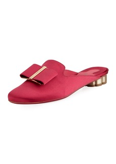 Ferragamo Sciacca T Smooth Satin Vara Bow Mule with Flower Heel