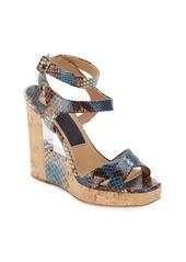 Salvatore Ferragamo Snake-Embossed Leather & Cork Wedge Sandals