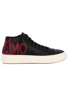 Salvatore Ferragamo Sneakers Salvatore Ferragamo Lace-up Sneakers In Genuine Smooth Leather With Gancini Rubber Sole