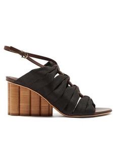 Salvatore Ferragamo Solki column-heel canvas sandals