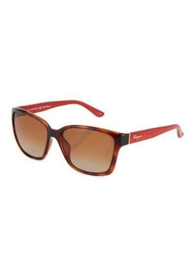 Salvatore Ferragamo Square Tortoise-Print Plastic Sunglasses
