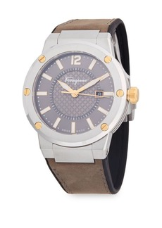 Ferragamo Stainless Steel Analog Leather-Strap Watch