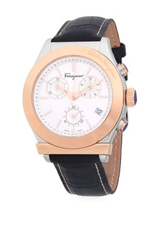 Ferragamo Stainless Steel and Textured Leather-Strap Watch