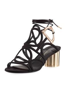 Ferragamo Vinvi 55 Suede Ankle-Wrap Sandals