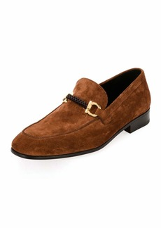 Ferragamo Men's Suede Braided Gancini Loafer