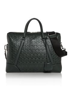 Salvatore Ferragamo Tech Gancini Embossed Leather Briefcase