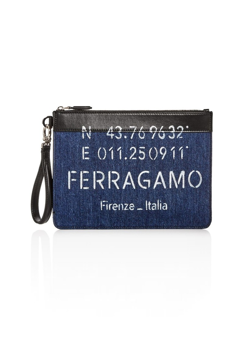 Salvatore Ferragamo Tessuto Denim Wristlet