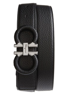 Salvatore Ferragamo Textured & Smooth Leather Belt