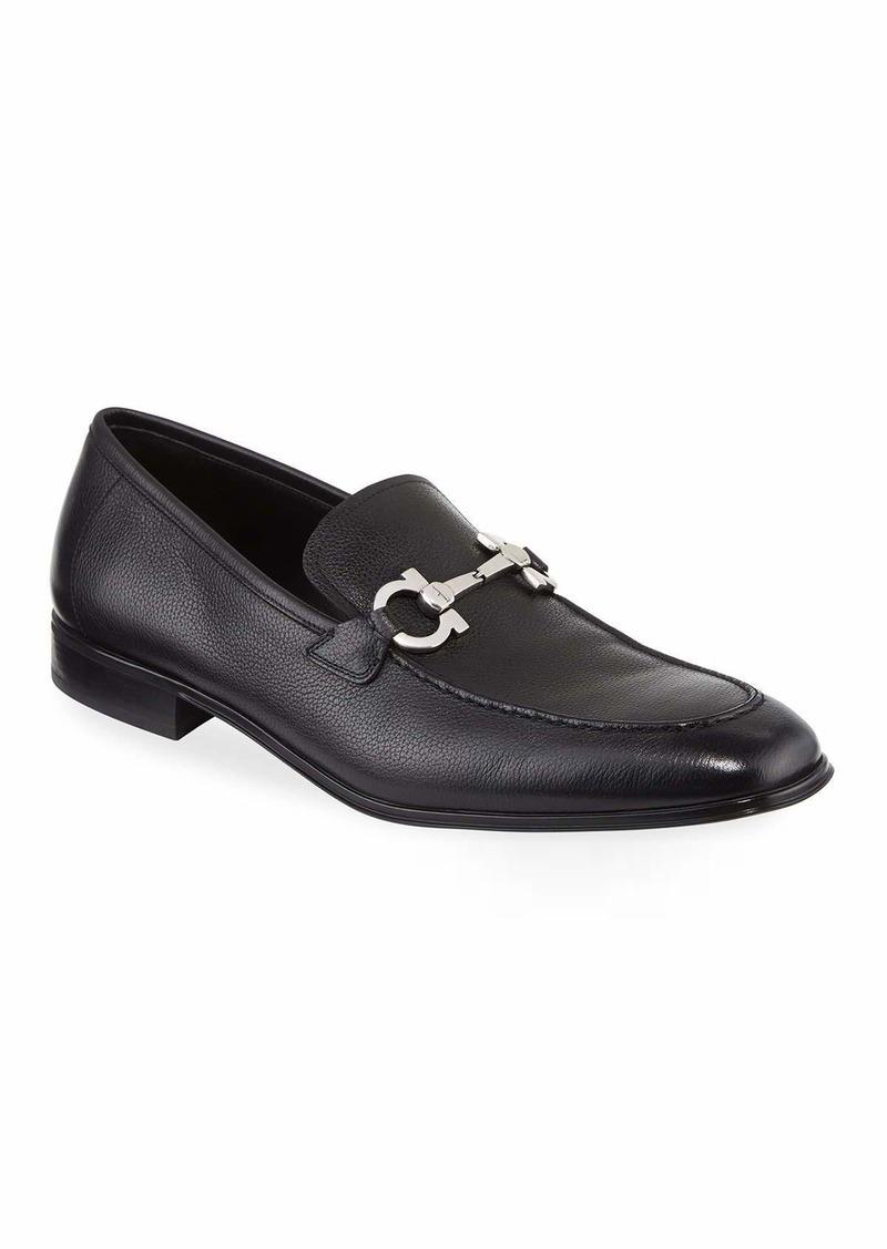 Salvatore Ferragamo Textured Calfskin Gancini Loafer  Black
