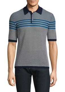 Ferragamo Textured Cotton Polo