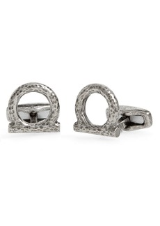 Salvatore Ferragamo Textured Gancio Cuff Links