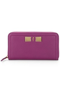 Ferragamo Textured Leather Zip-Around Wallet
