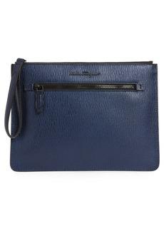 Salvatore Ferragamo Textured Leather Zip Pouch