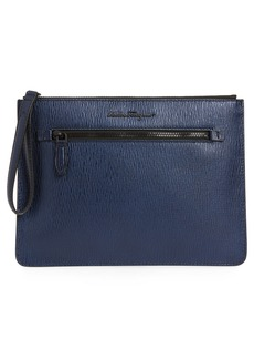 Salvatore Ferragamo Textured Leather Zip Pouch