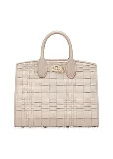 Salvatore Ferragamo Studio Bag Woven Leather Satchel