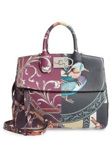Salvatore Ferragamo The Studio Piccolo Foulard Leather Top Handle Bag