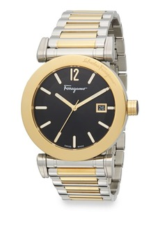 Salvatore Ferragamo Two-Tone Stainless Steel Black Dial Watch