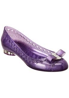 Salvatore Ferragamo Vara Bow Flower Heel Jelly Ballet Flat