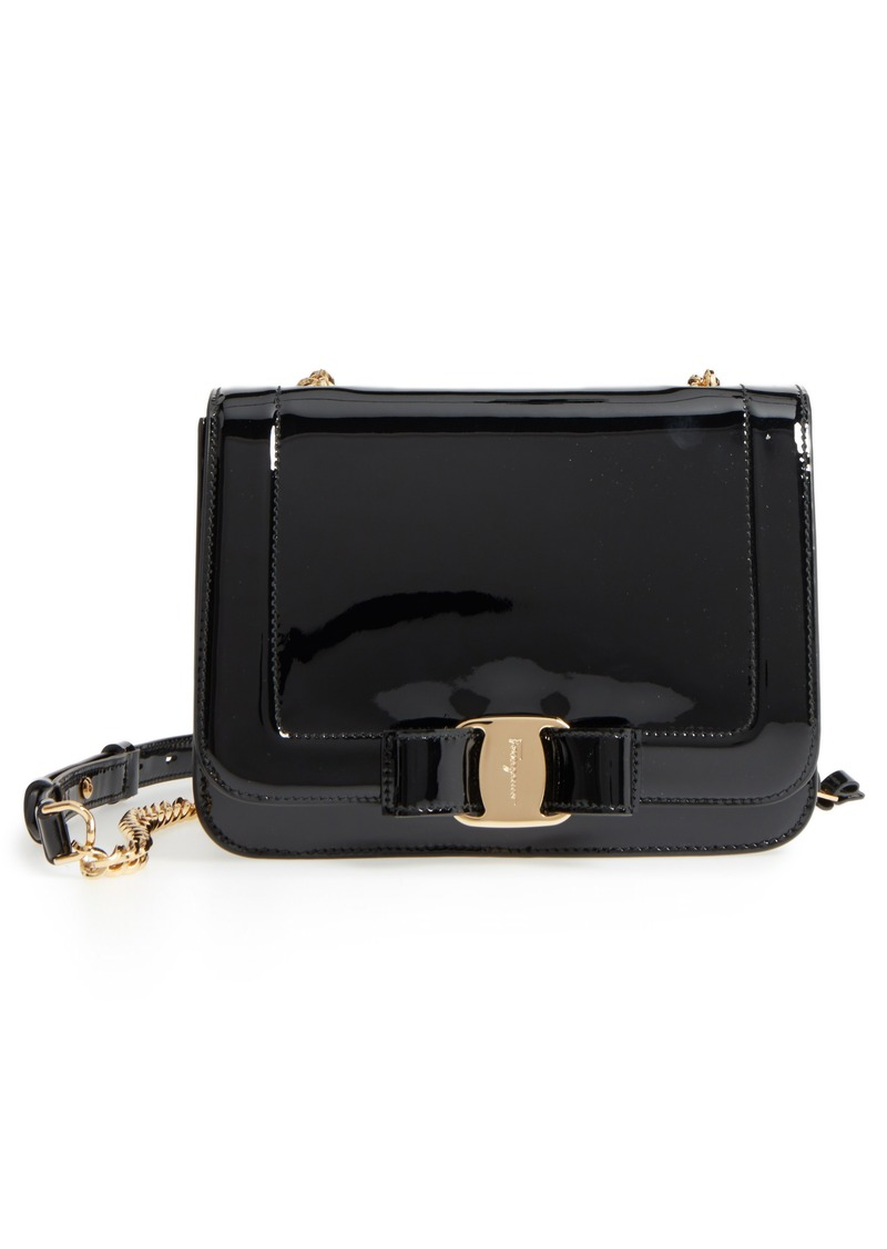 Ferragamo Salvatore Ferragamo Vara Patent Leather Shoulder Bag ... cdb63f7179d36