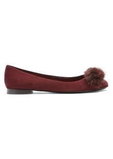 Salvatore Ferragamo Varina mink-fur embellished suede flats