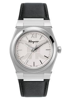 Salvatore Ferragamo Vega Leather Strap Watch, 40mm