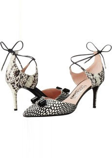 Salvatore Ferragamo Watersnake Lace Up Closed Toe Heel