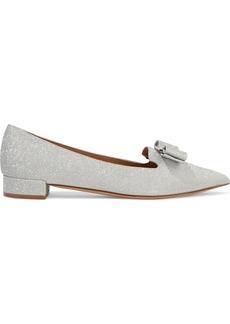 Salvatore Ferragamo Woman Alice Bow-embellished Glittered Woven Point-toe Flats Silver